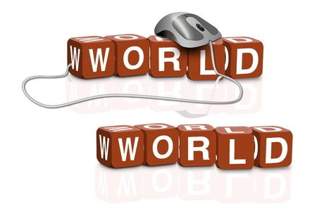 red dices spelling the word world with or without mouse Stock Photo - 6921491