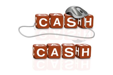 red dices spelling the word cash with or without mouse photo
