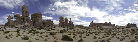 altiplano: rock formation in sand desert shaped by erosion on the altiplano in Bolivian andes panorama
