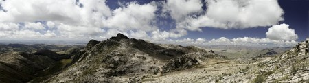Andes scenic landscape beautiful blue sky white clouds big rocks panorama photo