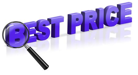 best price sales button bargain promotion offer blue on white 3D text word Stock Photo - 6969040