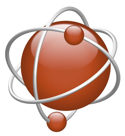atom 3D red nucleus red electron in orbit Stock Photo - 7147011