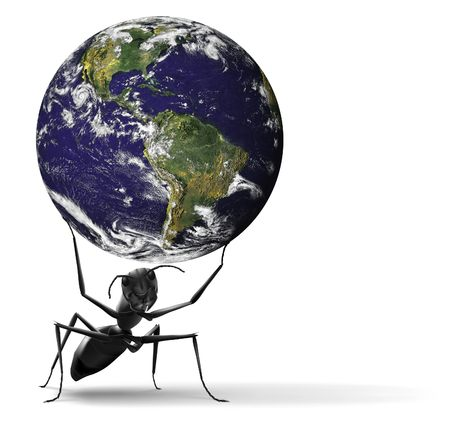 heavy: small ant lifting heavy blue earth insect illustration Some components of this montage are provided courtesy of NASA, and have been found at http:visibleearth.nasa.gov
