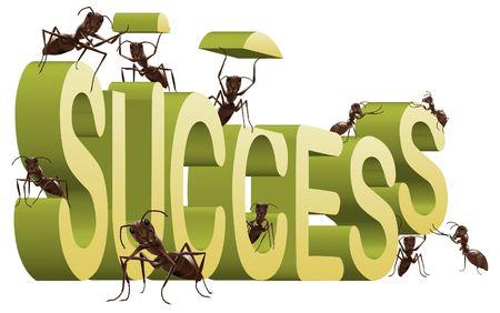 exito: el �xito de edificio de �xito crear sus propia hormigas de fortuna trabajando para construir la palabra 3D aislado en blanco