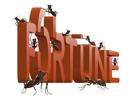 ants building red 3D word fortune isolated on white background success luck lucky winner Stock Photo - 7338105