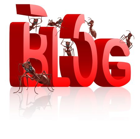 blog building ants as bloggers writing or building weblog in big 3D word Stock Photo - 7648332