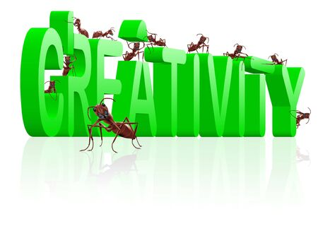 creativity build your innovation create your vision ants building word Stock Photo - 7790382