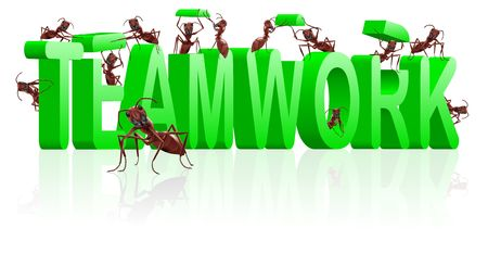 teamwork ants cooperation and collaboration in building word Stock Photo - 7790406