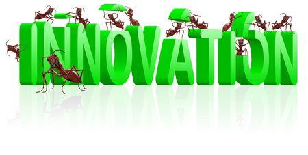 innoveren: innoveren uitvinden maken of uitvinding innovatie creativiteit leidt tot ontdekking van nieuw product ontwikkelen Stockfoto