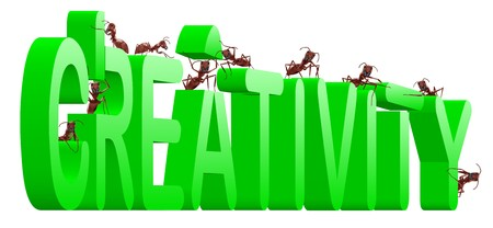 creativity build your innovation create your vision ants building wordgreen text Stock Photo - 7790469