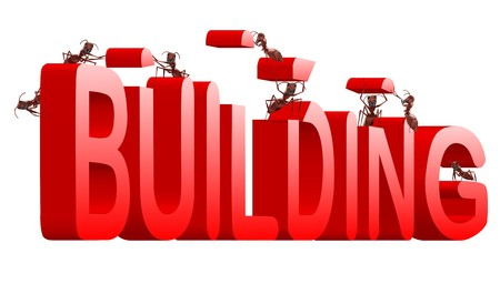 realization: ants building red 3d word under construction creation realization