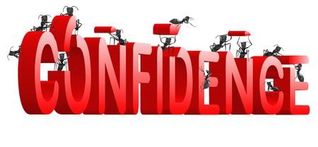 confianza: auto los palabra de psicolog�a rojo estima y creencia construido por las hormigas de fomento de la confianza  Foto de archivo