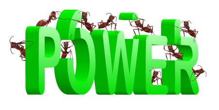 strenght: power and strenght ants building green word strong