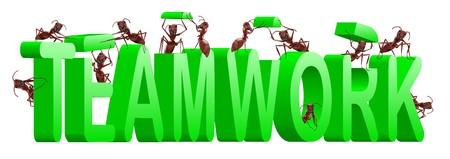 sinergia: cooperaci�n de las hormigas de trabajo en equipo y la colaboraci�n en la construcci�n de la palabra