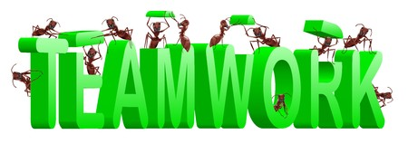 teamwork ants cooperation and collaboration in building word Stock Photo - 7790521