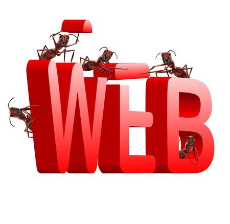 building a website: web website internet site under construction ants building word www