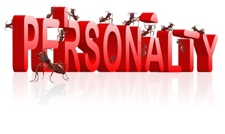 introverted: personality building strong and powerful person psychology ants creating red word with reflection