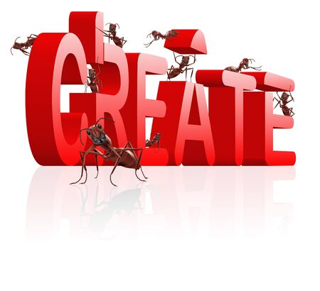 create ants building word red concept for creativity and innovation reflection Stock Photo - 7790441