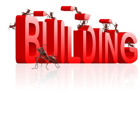 realization: ants building word under construction creation realization engineering by insects red text