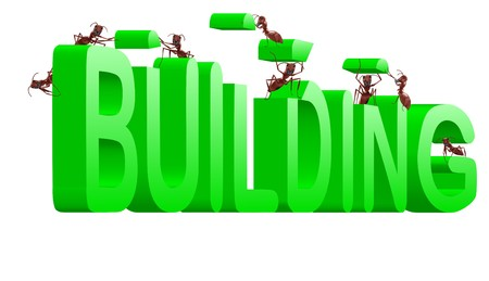realization: building green word under construction creation realization by ants