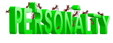 personality building strong and powerful person psychology ants creating green word photo