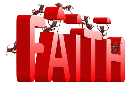 fidelidad: construir la confianza de la fe y la creencia en Dios Jesucristo y las hormigas de amigos, creaci�n de texto en rojo  Foto de archivo