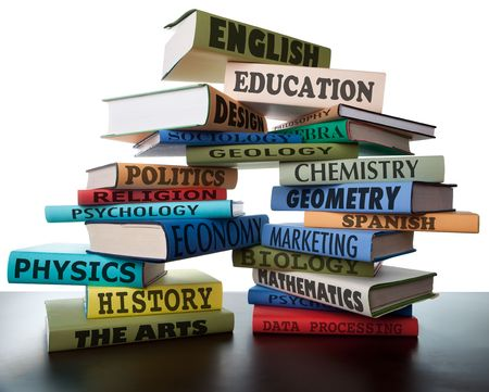 educational: school books on a stack educational textbooks wih text education leads to knowledge