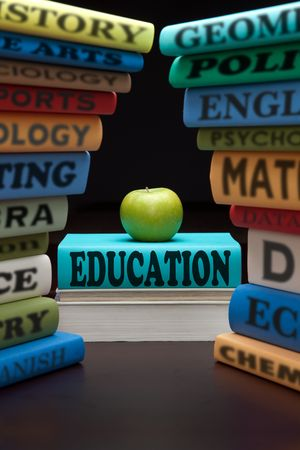 education study books with text learning building knowledge at school with healthy apple Stock Photo - 8012924
