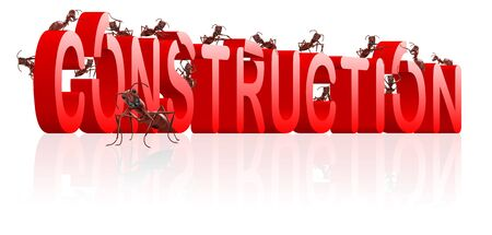 under construction website or webpage building ants constructing word isolated image work in progress or maintanance photo