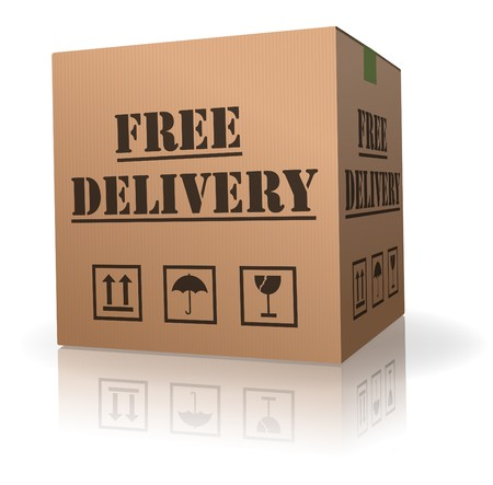 package shipment: shipping package free delivery cardboard parcel with text order shipment logistics after online shopping deliver packet or relocation and moving