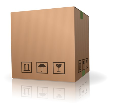 ship package: cardboard box carton container with reflection isolated on white