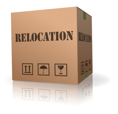 packaging move: relocation cardboard box to move goods moving container Stock Photo