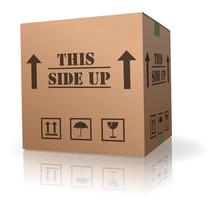 このパッケージの段ボール ボックス テキスト サイドアップ 写真素材