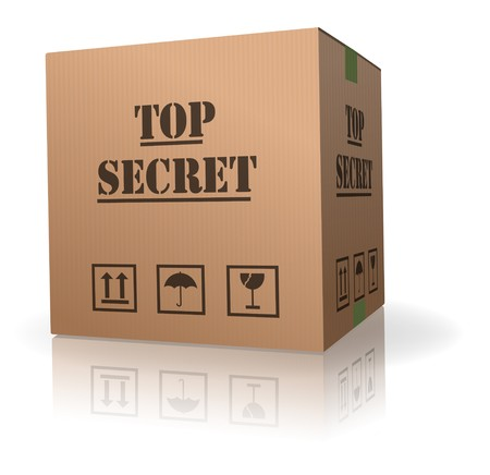 ship package: top secret package cardboard box with important information