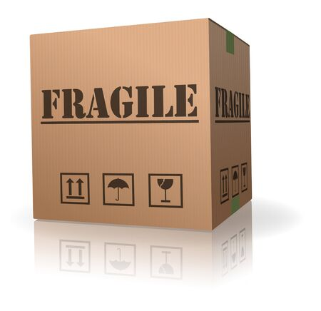 ship package: fragile post package sending delicate shipment Stock Photo