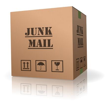 spamming: junk mail in cardboard package unwanted post sending spam and spamming