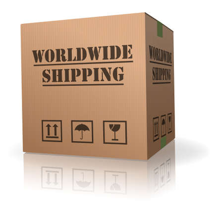 worldwide shipping cardboard box shipment Stock Photo - 8108275