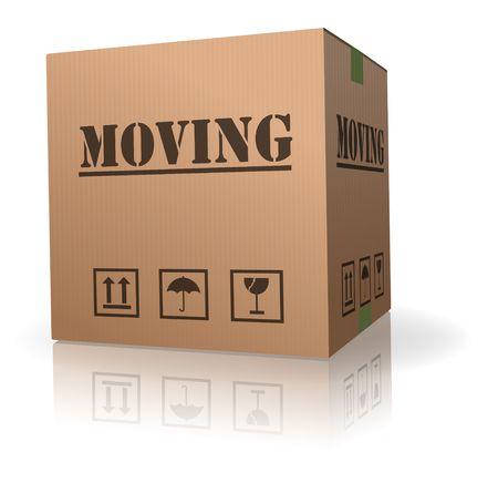 relocation: moving cardboard box
