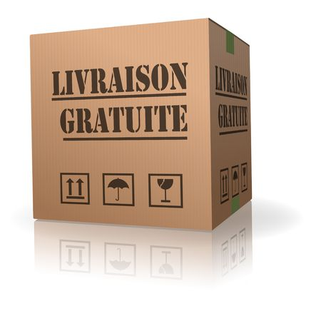 order delivery: free delivery cardboard box in French livraison gratuite Stock Photo