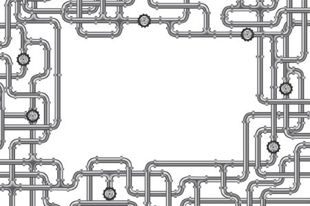 plomeria: tuber�as con v�lvula y montones de marco de espacio de copia para la industria de agua, gas o petr�leo de fontaner�a  Foto de archivo