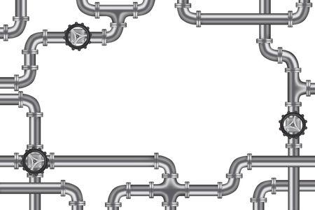 fontaneria: tuber�as con v�lvula y montones de marco de espacio de copia para la industria de agua, gas o petr�leo de fontaner�a  Foto de archivo