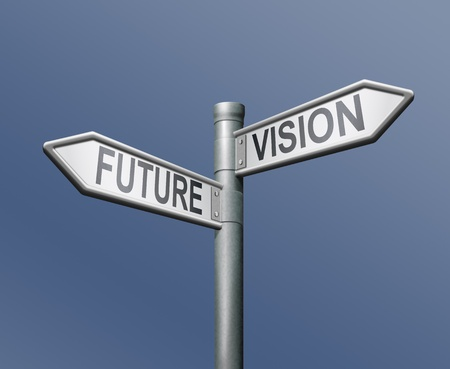 vision futuro: signo de carretera de visi�n de futuro sobre fondo azul