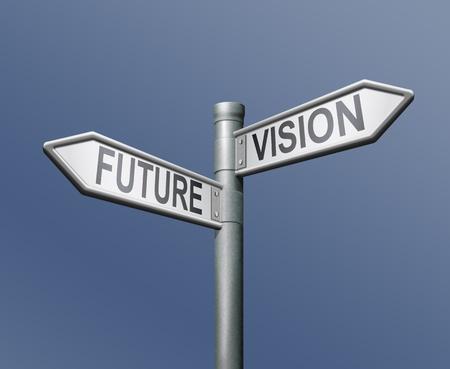 vision future: toekomst visie verkeers bord op blauwe achtergrond