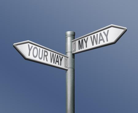 egoista: tu camino mi camino de manera firmar sobre fondo azul Foto de archivo