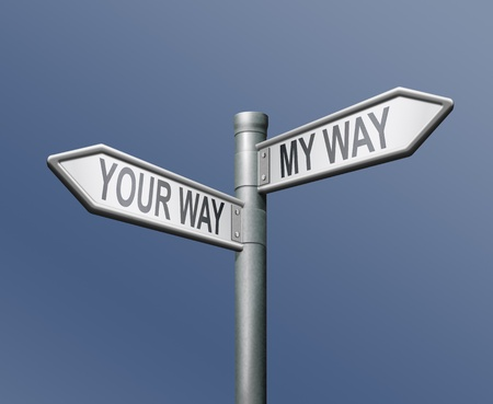 selfish: your way my way road sign on blue background Stock Photo