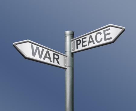 war peace roadsign ok or not ok choice Stock Photo - 8363714