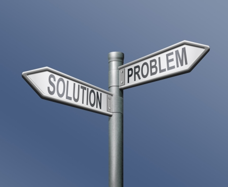 problem solution road sign blue background photo