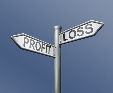 profit loss risk road sign on blue background financial risk concept gain or loss net income or deficit photo