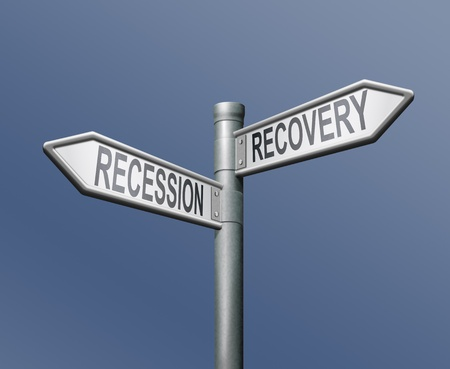 economic revival: recession recovery road sign arrow on blue background Stock Photo