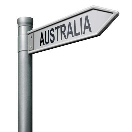 road sign arrow pointing to Australia photo
